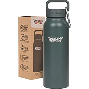 Healthy Human 21 oz Water Bottle - Cold 24 Hrs, Hot 12 Hrs. 4 Sizes & 12 Colors. Double Walled Vacuum Insulated Stainless Steel Thermos Flask with Carabiner & Hydro Guide. Color: Graphite