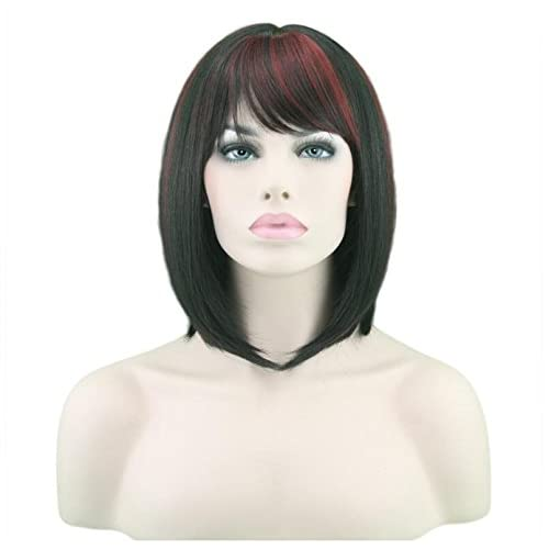 Cheap Bob Short Hair Wig for Black Women Wine Red Mixed Color Heat Resistant Yaki Synthetic Hair Women's Wig With Hair Bangs (Black/Red) free shipping