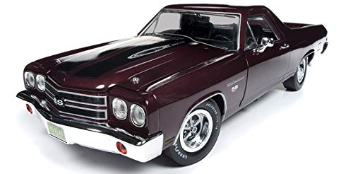 - 1970 Chevrolet El Camino SS Black Cherry 100th Anniversary Limited Edition to 1002 Pieces Worldwide 1/18 Diecast Model Car by Autoworld AMM1161