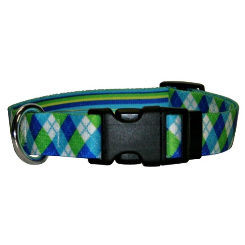 Yellow Dog Design Blue And Green Argyle Dog Collar Fits Neck 14 To 20