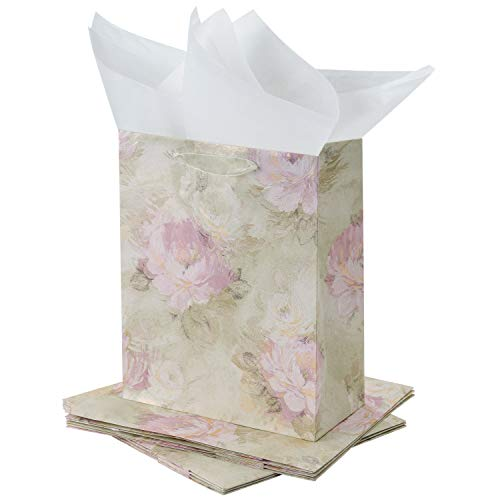 - Loveinside Medium Size Gift Bags-Pink and Green 3D Floral Gift Bag with Tissue Paper for Shopping,Parties,Wedding, Baby Shower, Craf-6 Pack-10.2