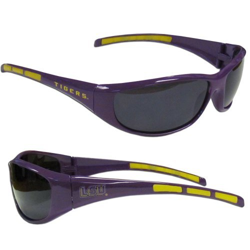 Lsu Tigers Logo Sunglasses - NCAA Collegiate Team Logo Sports Wrap Sunglasses - Choose Team! (LSU Tigers)