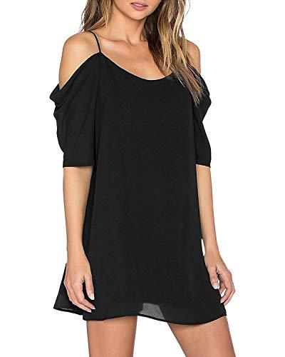 ZANZEA Womens Off The Shoulder Chiffon Dress Sexy Summer Beach Sundress Cold Shoulder Flowy Halter Short Dress Black L