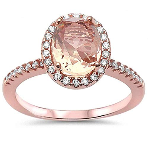 - Blue Apple Co. Solitaire Accent Engagement Ring Halo Oval Simulated Morganite Round CZ Rose Tone 925 Sterling Silver (Simulated Morganite, 4)