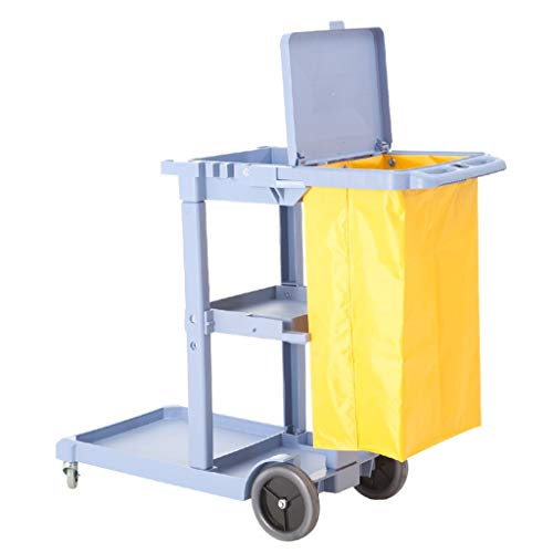 (ZAQI Commercial Janitorial Cart, Heavy Duty Cleaning Utility Service Cart, 3 Shelf Housekeeping Rolling Janitor Cart with Vinyl Bag, Load 50kg)