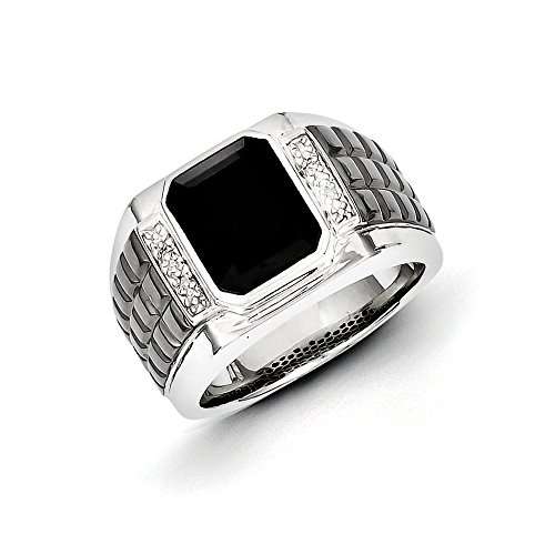 .016 Ctw (I-J Color, I2-I3 Clarity) Diamond & Onyx 14mm Tapered Two Tone Sterling Silver Ring, Size 9 - 2 Tone Diamond Mens Rings