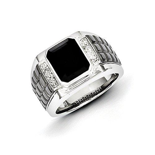 Custom Diamond Bezel (.016 Ctw (I-J Color, I2-I3 Clarity) Diamond & Onyx 14mm Tapered Two Tone Sterling Silver Ring, Size 11)