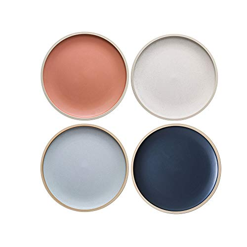 8.3-Inch Porcelain Dinner Plates Set Pizza Plate Dessert Dishes Matte Finish 4 Colors Set of 4