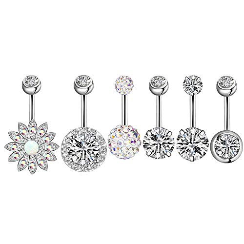 Belly Button Rings gLoaSublim,6Pcs Cubic Zirconia Inlaid Belly Bar Navel Rings Set Women Body Piercing Jewelry - Silver