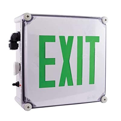 Elco Lighting EE22GW Weatherproof LED Exit Sign Green or Red Letters