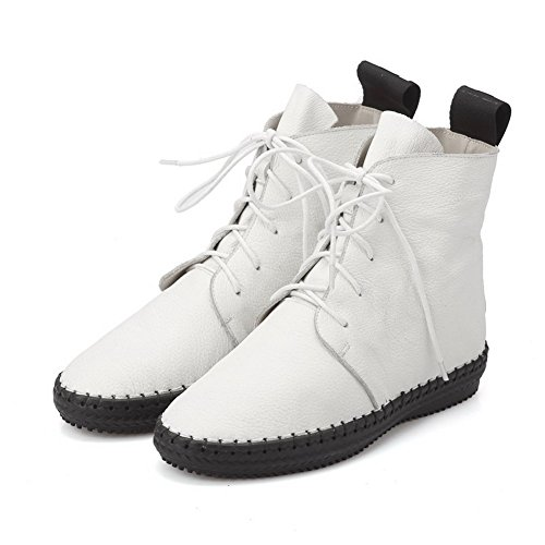 AmoonyFashion Womens Round-Toe Closed-Toe Low-Heels Boots With Rubber Soles and Thread White DrK8sI