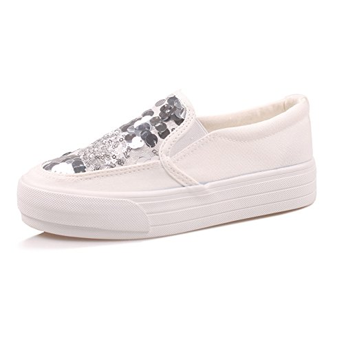 Women's Shoes NAN Canvas Summer Comfortable Sequins Lazy Shoes Flat Shoes Round Toe Casual White Black (Color : Black, Size : EU38/UK5.5/CN38) White