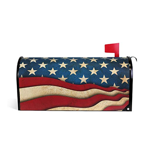 (Naanle Vintage American Flag Magnetic Mailbox Cover, USA Flag Mailbox Wrap Home Decorative for Standard Size 20.8