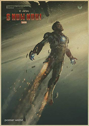 1 piece vintage Hollywood Movie Poster Adornment Picture Iron Man Design Drawing Nostalgic Retro Kraft Paper Poster Decorative Painting