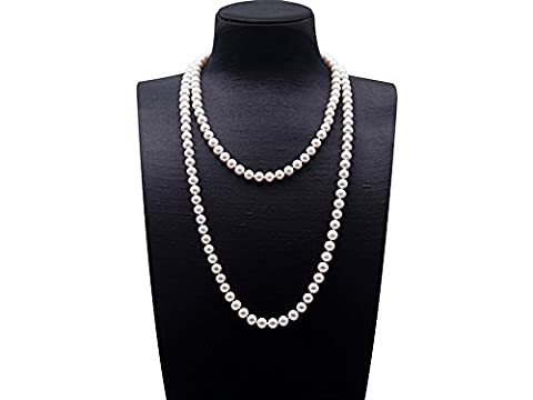 JYX Round 8-9mm White Cultured Freshwater Pearl Necklace Sweater Necklace 50