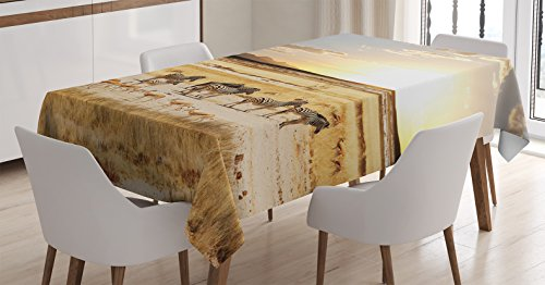 Ambesonne Safari Tablecloth, Zebras with Their Striped Coats in Savannahs Sunset Adventure Africa Wild Safari, Dining Room Kitchen Rectangular Table Cover, 60 W X 84 L Inches, Cream Yellow
