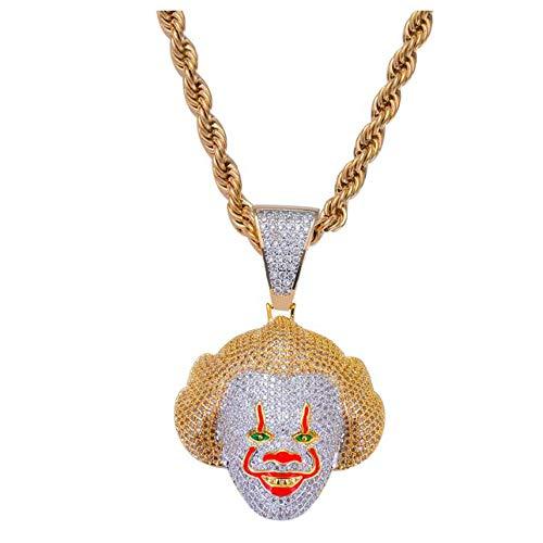 (Union Power Hip-hop Zircon Men with Pendant Necklace (Clown))