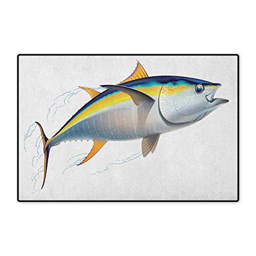 (Fish,Door Mat Small Rug,Yellowfin Tuna Realistically Illustrated with Shadows and Water Details on Fins,Floor Mat for Kids,Earth Yellow Blue,Size,16