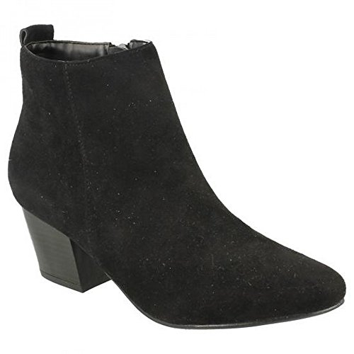 Ladies Spot On Heeled, Ankle Boots Black Microfibre