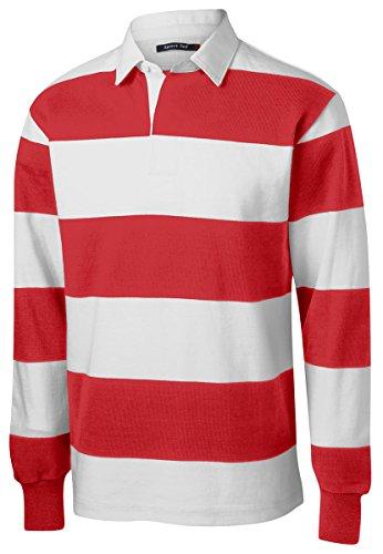 Sport-Tek Men's Long Sleeve Rugby Polo XL True Red/ White