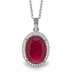 7.93 Carat 14k Solid White Gold Necklace with Natural Oval-shaped Ruby and Genuine Diamonds Pendant