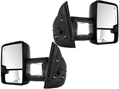 APA Chevy Silverado GMC Sierra 03 - 07 Chrome Tow Power Heated Clearance Lamp LED Signal Mirror Set Pair (2015 Style) by Auto Parts Avenue