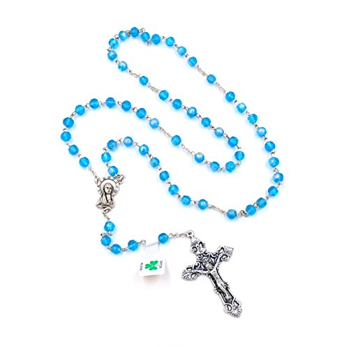 Blue Bead & Silver Crucifix Rosary by J.C. Walsh & Sons- Made In (Son Crucifix)