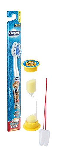 "Paw Patrol ""Rubble On The Double"" 2pc Bright Smile Oral Hygiene Set! Toothbrush & Rubble Brushing Timer! Plus Bonus ""Remember To Brush"" Visual Aid"