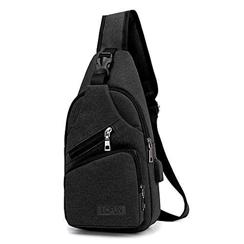 lcfun Canvas Sling Bag Shoulder Chest Cross Body Backpack with USB Charging Port for Men Women Girls Boys Crossbody Lightweight Travel/Hiking/Outdoor Sport Backpack (Black)