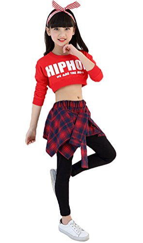 Soojun Girls Hip Hop Dance Costume Crop and Leggings With Attached Faux Shirt, Red, 145cm by Soojun