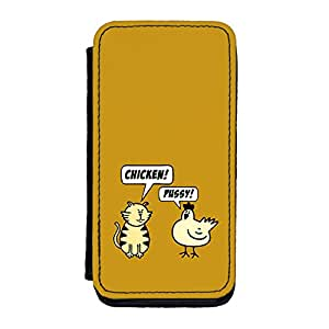 Chicken & Pussy Premium Faux PU Leather Case, Protective Hard Cover Flip Case for iPhone 5C by Chargrilled