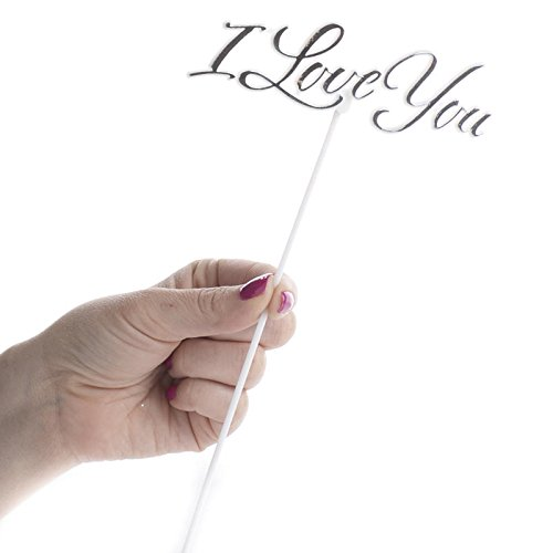 Factory Direct Craft Group of 12 Floral Embellishing Acrylic I Love You Script Picks for Inserting in Real and Artificial Floral Arrangements