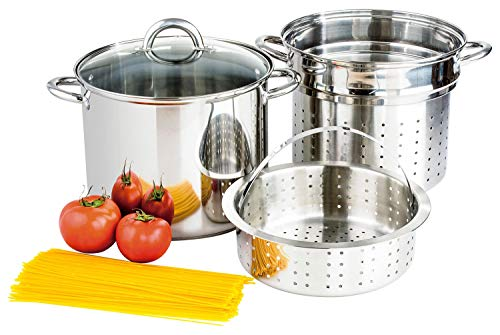 Culinary Edge Stainless Steel 8-Quart Nonstick 4-Piece Multi-Cooker with Steamer and Pasta Pot Cookware Set 4 Piece Multi Cooker