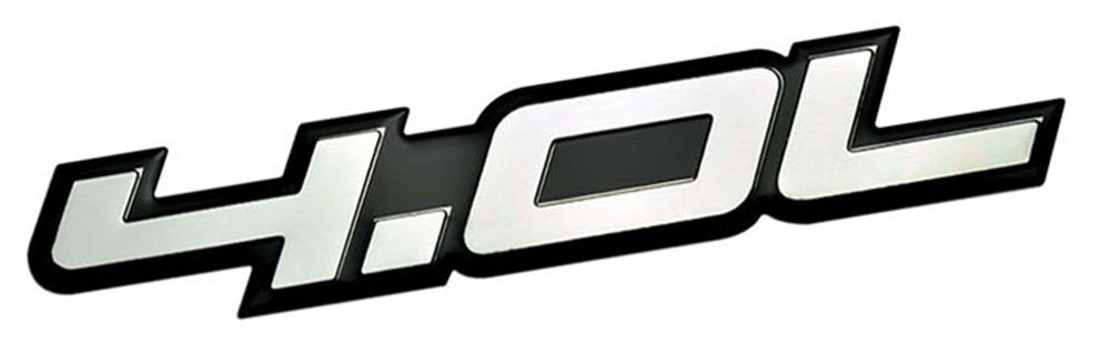 4.0L Liter Embossed SILVER on Black Highly Polished Silver Real Aluminum Auto Emblem Badge Nameplate for Chrysler Pacifica Town /& and Country Dodge Coronet Nitro Grand Caravan Ford Aerostar Ranger Explorer Sport Trac Mustang Jeep Grand Cherokee Comanche Wa