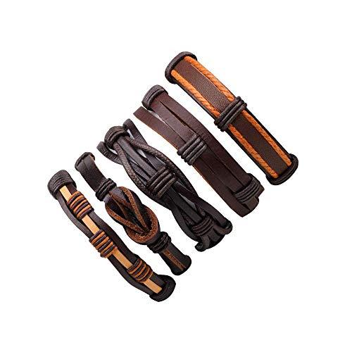 Authentic Hermes Leather Bracelet - Newly Leather Bracelets Charm Black Braid Wrap Bracelets Bangles Punk Rope Chain Men Jewelry,F5PC