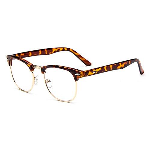 mâle Motif résine cadre Aiweijia lunettes femelle Demi trame grand en Léopard rétro myope lunettes lentilles x7q7RfI
