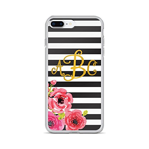 Custom Monogrammed   Black   White Striped  Floral W  Gold Monogram   Iphone Case  7 Plus   8 Plus