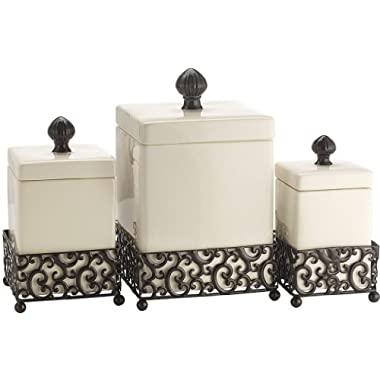 Attractive Set of Three (3) Square Ceramic Canisters on Scroll Designed Pressed Metal Base ~ Storage & Home Decor Set