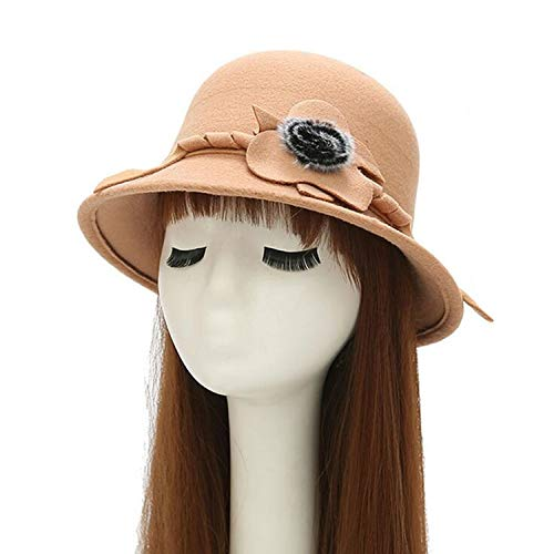Vogue Vintage Imitation Wool Rose Flower Felt Fedora Hat Fall Winter Cloche Bucket Cap Dome Women Men