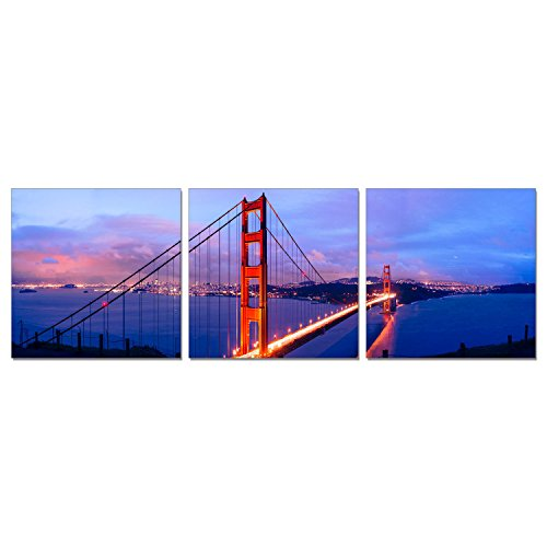 (Furinno Senia Wall Mounted Triptych Photography Prints, Golden Gate Bridge, Set of 3)