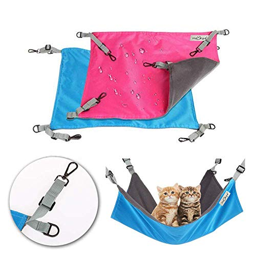 Metacrafter Small Animal Hammocks Bed,[2 Pack] Cat Kitty Ferret Guinea-Pig Chinchilla Hamster Hanging Hammock Puppy Rat Rabbit Small Dogs House -Soft Sleeping and Resting Pad-Easy to Attach to a Cage