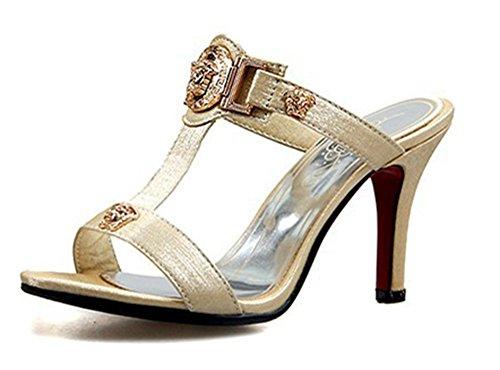 T High SHOWHOW Beige Toe Heels Open Sandals Gladiator Slide Strap Women's Mule Pqxr0pPz