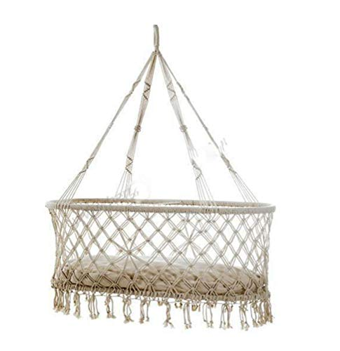 JBailmx Baby Crib Cradle, Infants Swings, Bohemian Cradle Hanging Hammock for Baby Girl/Boy, Portable Swing and Hanging Bassinet for Baby Nursery, Macramé Rope Fringe Measures - 160KG
