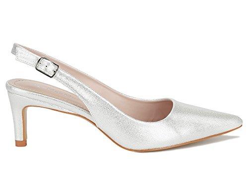 Max Muxun Women Classic Slingback Kitten Heel Dress Court Shoes Silver It7pvr
