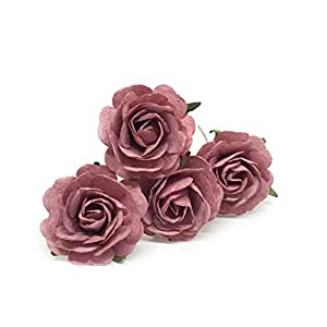 "1.5"" Mauve Paper Flowers, Mulberry Paper Flowers, Mulberry Paper Roses, DIY Wedding, Flower Backdrop, Blush Wedding, DIY Wedding Favors, 12 Pieces 15"
