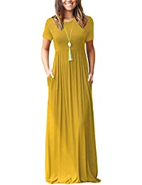 Women Short Sleeve Loose Plain Maxi Dresses Casual Long...