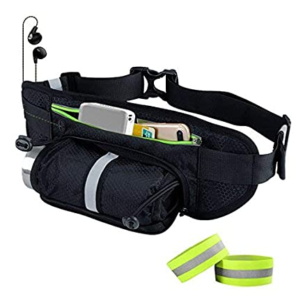 099889020ae3 Waterproof Hydration Waist Bag,Adjustable Running Belt Reflective Zipper  Hip Fanny Pack,Travel Storage Pouch for Money Card Key Phone Bottle Holder