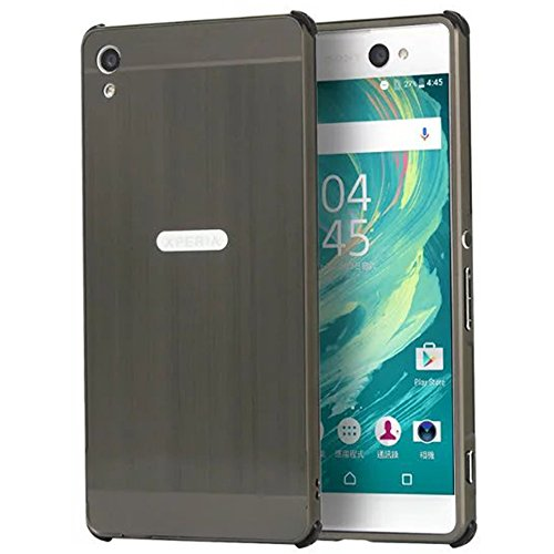 Sony Xperia XA Ultra Case, Ranyi [Brushed Metal Series] Luxury Aluminum Metal Bumper Frame Detachable + Smooth Brushed Hard Back Cover [Slim & Thin] Case for Sony Xperia C6 (black)