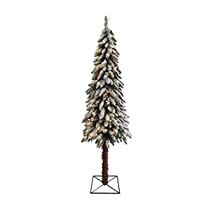 Northlight Pre-Lit Flocked Alpine Artificial Christmas Tree with Clear Lights, 7'