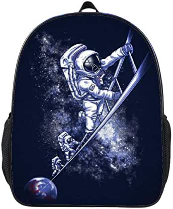 SARA NELL Kids Backpack Astronaut Climbs The Ladder To The Galaxy Space Kindergarten Boys Girls School Backpack Bag